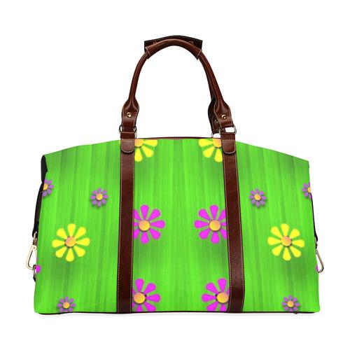flower print on green Classic Travel Bag (Model 1643) Remake