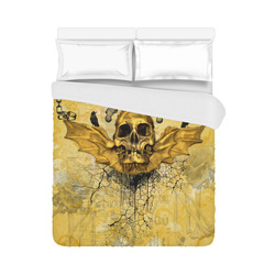 """Awesome skull in golden colors Duvet Cover 86""""x70"""" ( All-over-print)"""