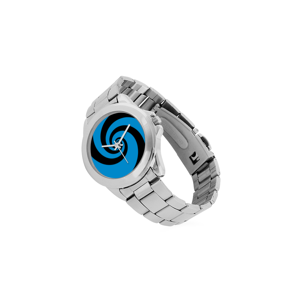 BLACK & BLUE SWIRL Unisex Stainless Steel Watch(Model 103)