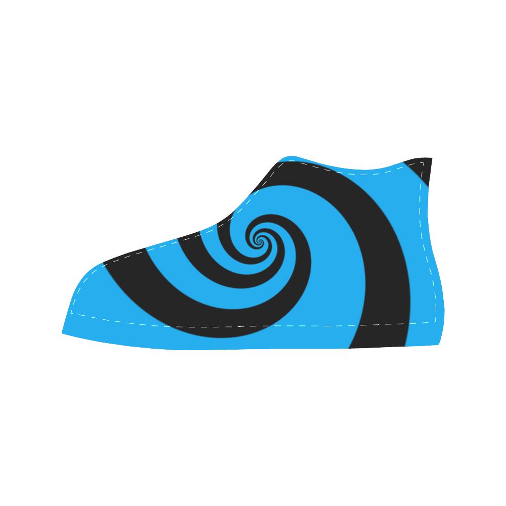 BLACK & BLUE SWIRL Aquila High Top Microfiber Leather Women's Shoes/Large Size (Model 032)