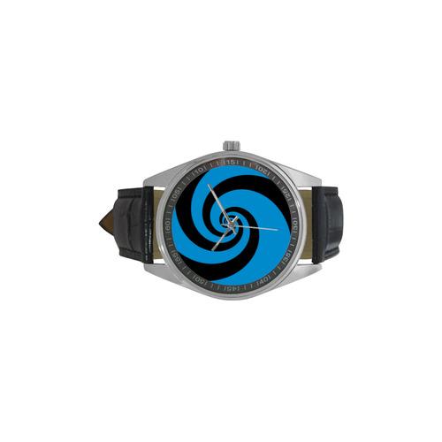 BLACK & BLUE SWIRL Men's Casual Leather Strap Watch(Model 211)