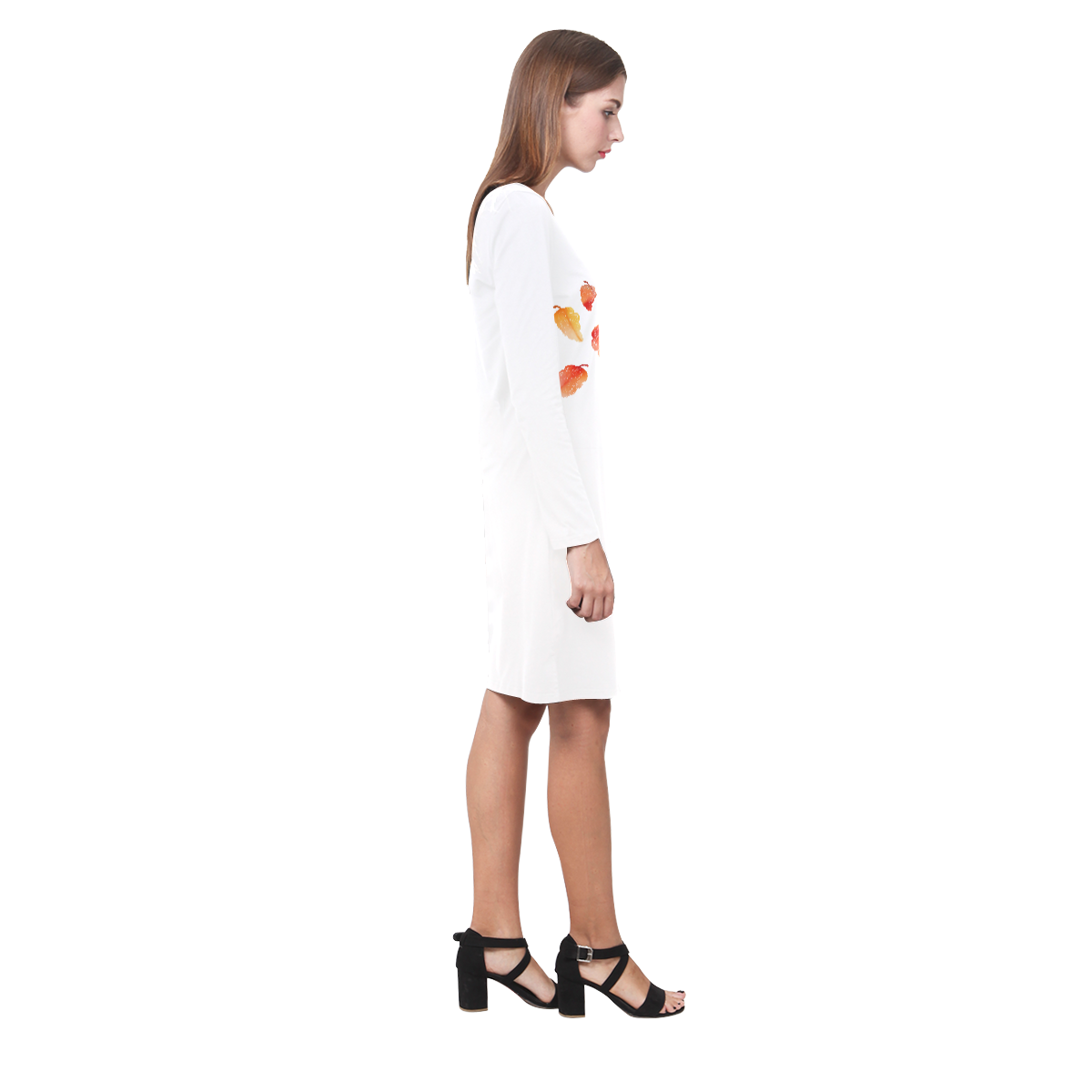 Orange leaves Demeter Long Sleeve Nightdress (Model D03)
