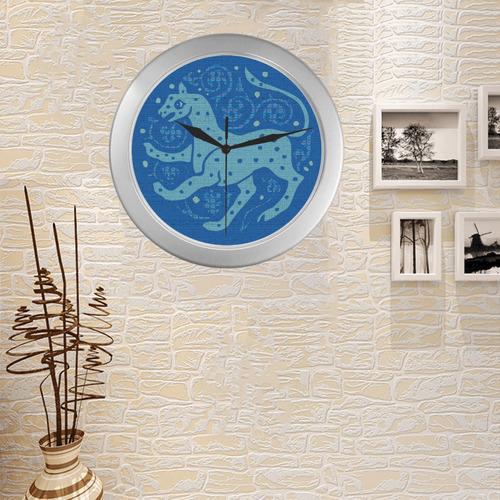 CHEETAH Silver Color Wall Clock