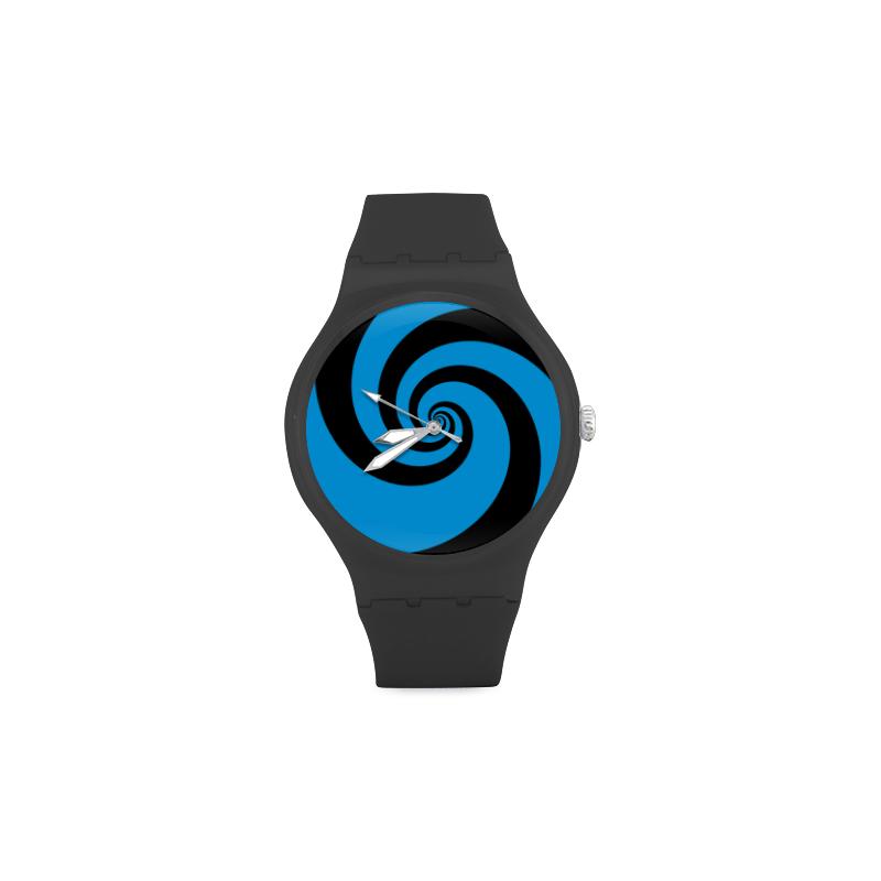BLACK & BLUE SWIRL Unisex Round Rubber Sport Watch(Model 314)