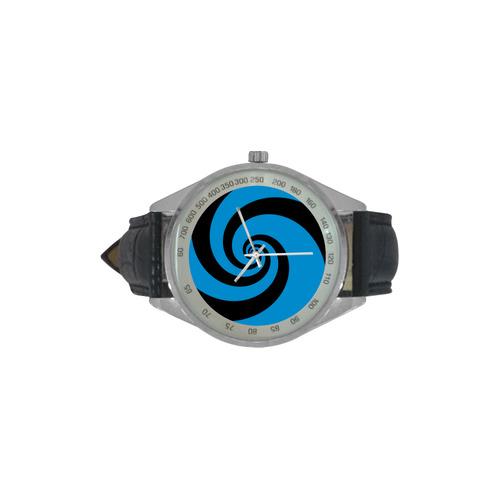 BLACK & BLUE SWIRL Men's Leather Strap Analog Watch(Model 209)