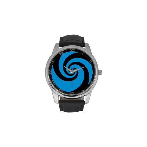 BLACK & BLUE SWIRL Men's Leather Strap Large Dial Watch(Model 213)