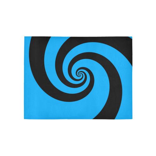 BLACK & BLUE SWIRL Area Rug 5'3''x4'