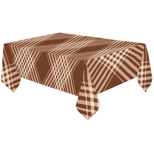 "Sienna And White Plaid Cotton Linen Tablecloth 60""x120"""