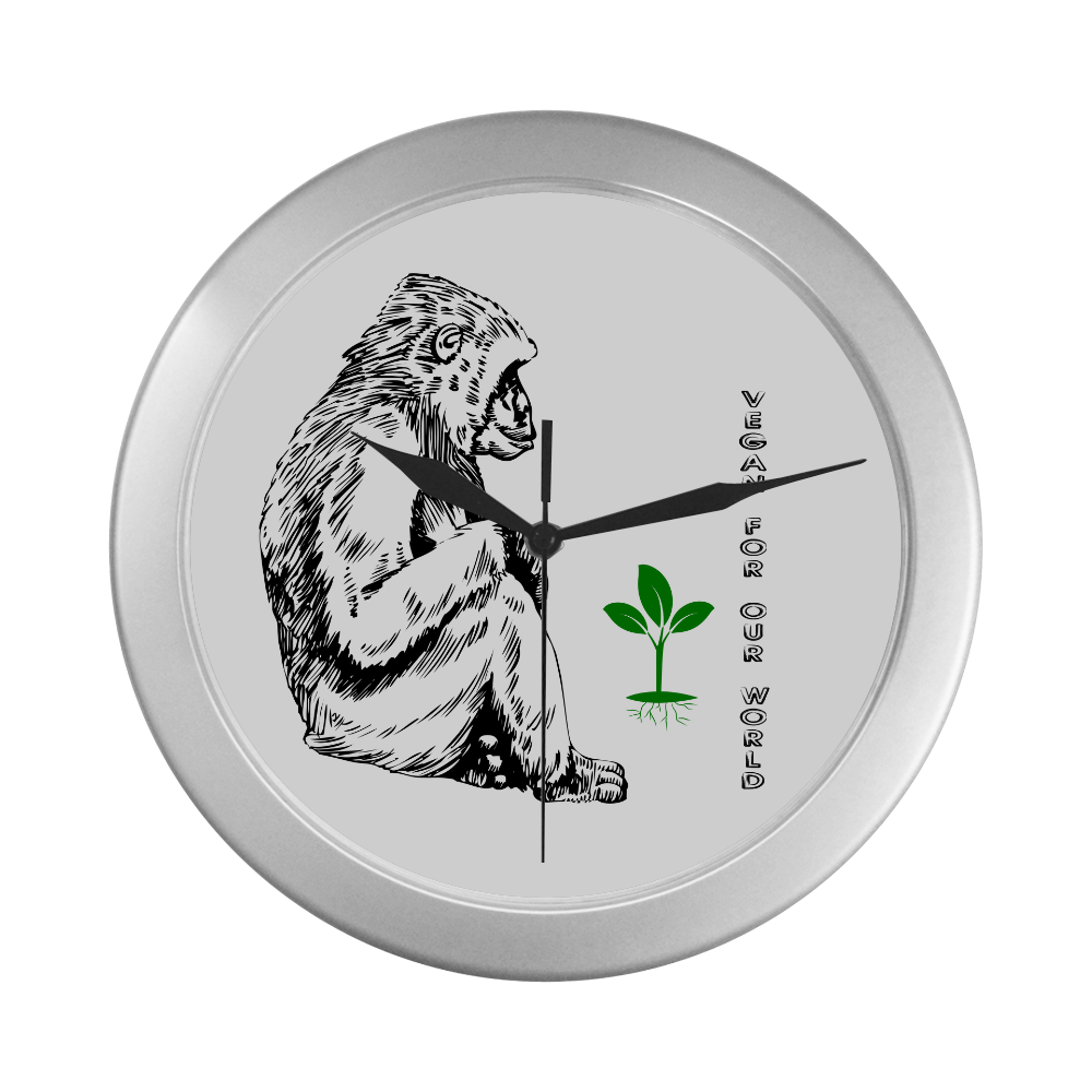 VEGAN Silver Color Wall Clock