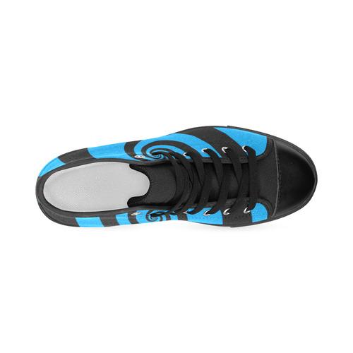 BLACK & BLUE SWIRL Men's Classic High Top Canvas Shoes (Model 017)
