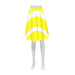 Yellow and White Stripes Athena Women's Short Skirt (Model D15)