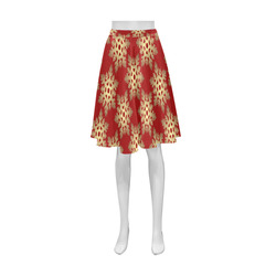 Red and Gold Christmas Damask Snowflakes Athena Women's Short Skirt (Model D15)