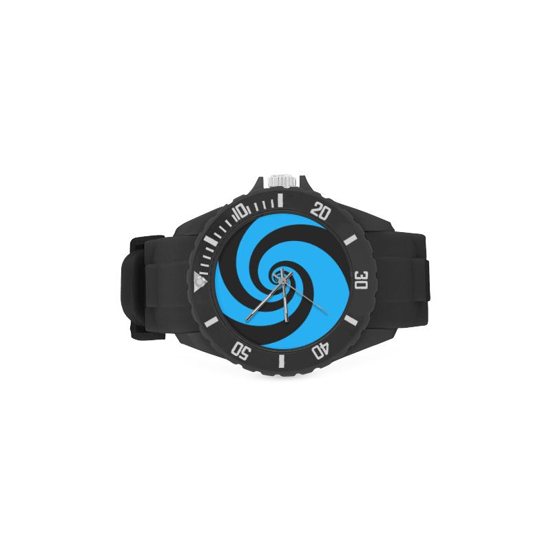 BLACK & BLUE SWIRL Sport Rubber Strap Watch(Model 301)