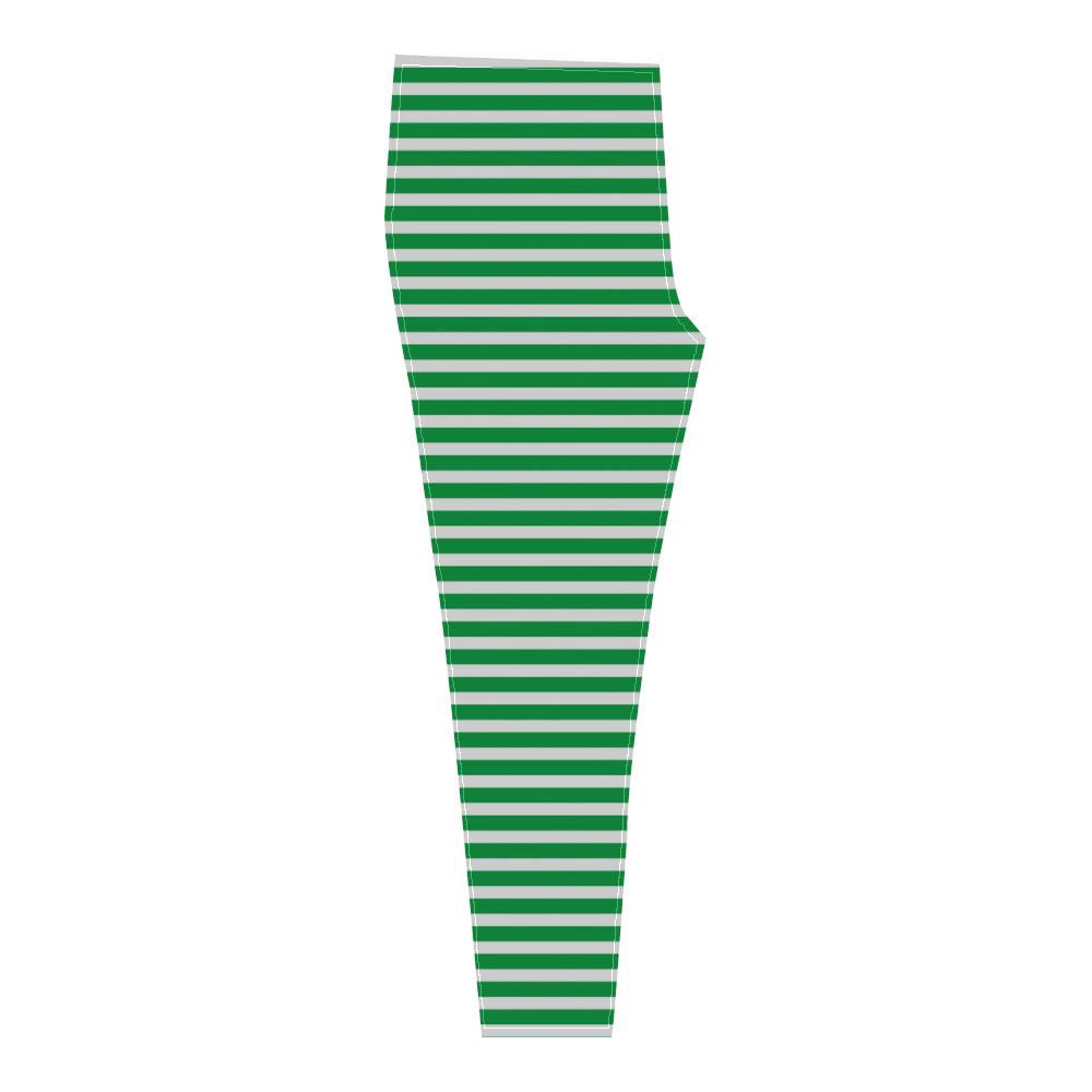 Green and White Stripes Cassandra Women's Leggings (Model L01)