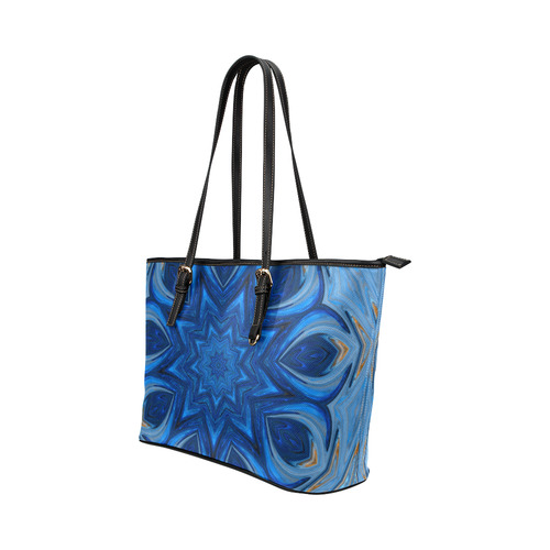 Blue Blossom Mandala Leather Tote Bag/Small (Model 1651)