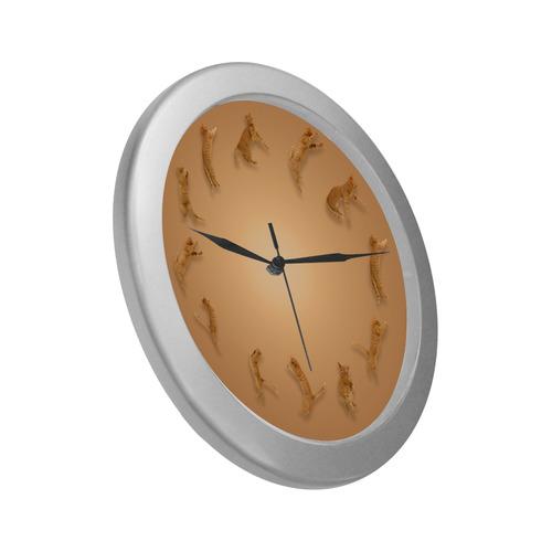 Novelty Jumping Cats Wall Clock Silver Color Wall Clock