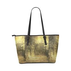 Vintage Landscape 03 Leather Tote Bag/Large (Model 1640)