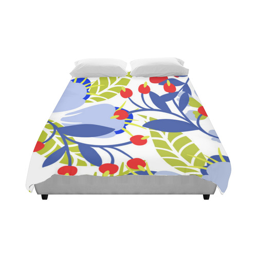 "Colorful Red Blue Modern Floral Pattern Duvet Cover 86""x70"" ( All-over-print)"