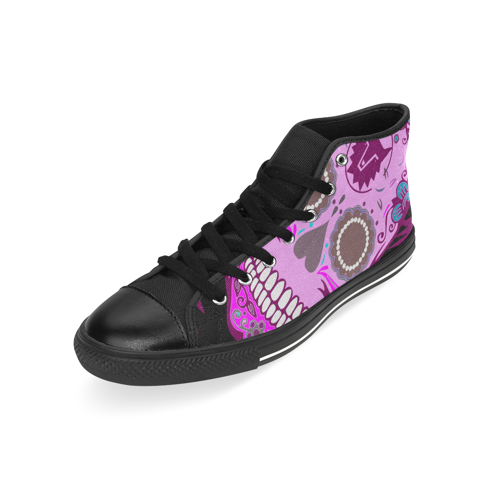 SKULL PINKY High Top Canvas Women's Shoes/Large Size (Model 017)