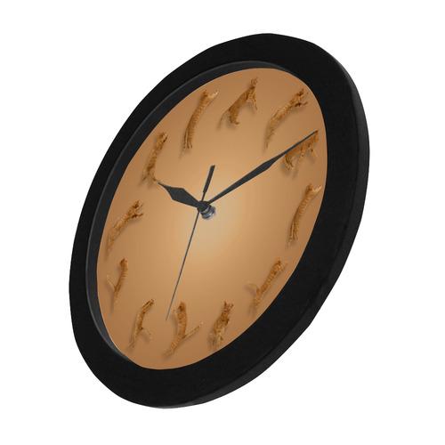 Novelty Jumping Cats Wall Clock Circular Plastic Wall clock