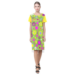 Retro Flower Power Blazing Yellow Short Sleeves Casual Dress(Model D14)