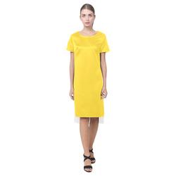 Vibrant Yellow Short Sleeves Casual Dress(Model D14)