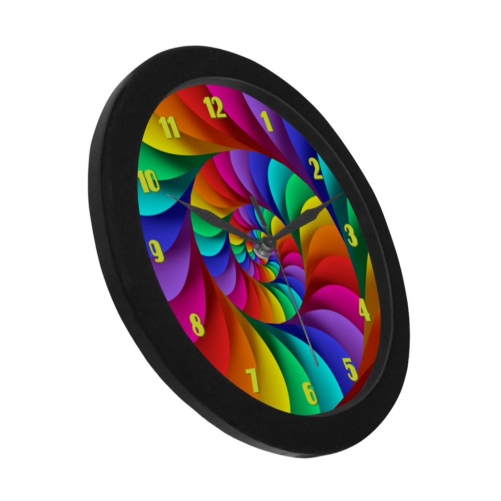 Psychedelic Rainbow Spiral Fractal Circular Plastic Wall clock