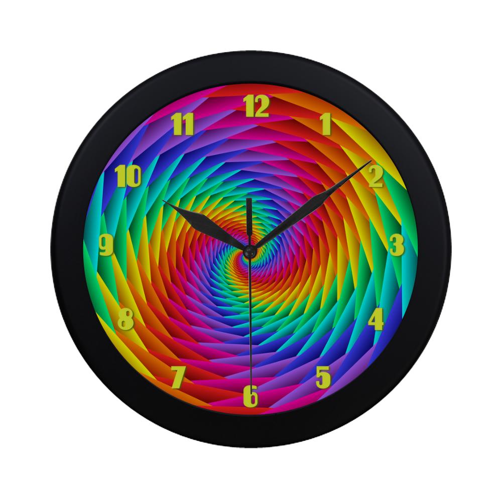 Psychedelic Rainbow Spiral Fractal Circular Plastic Wall clock