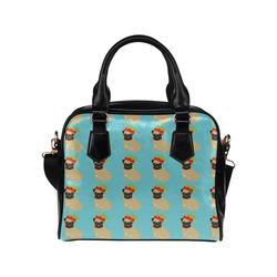 Christmas Pugs on Blue Background Shoulder Handbag (Model 1634)