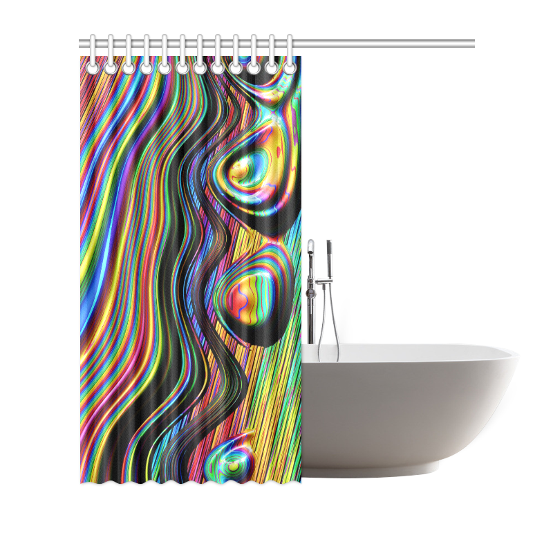 """Colors Gone Wild Abstract Fractal Art Shower Curtain 72""""x72"""""""