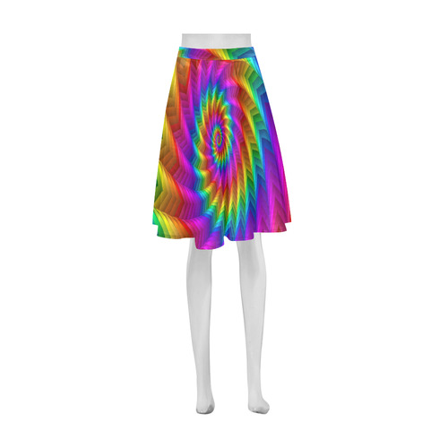 Psychedelic Rainbow Spiral Fractal Athena Women's Short Skirt (Model D15)