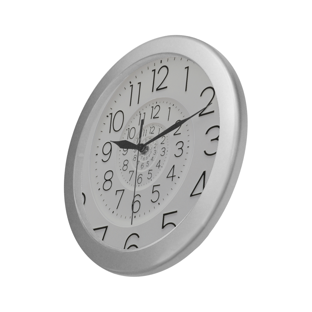 Conceptual Novelty Droste Clock Silver Color Wall Clock