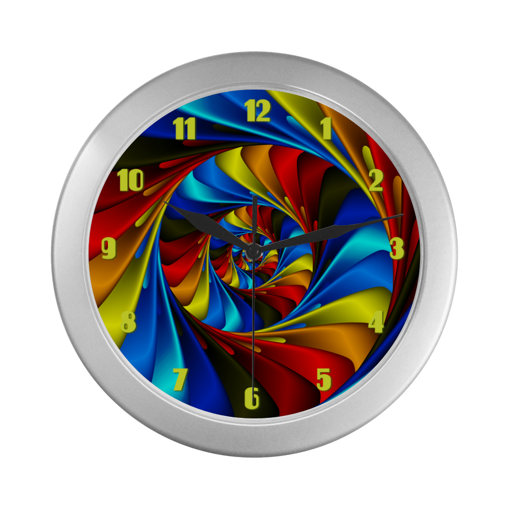 Psychedelic Rainbow Spiral Fractal Silver Color Wall Clock