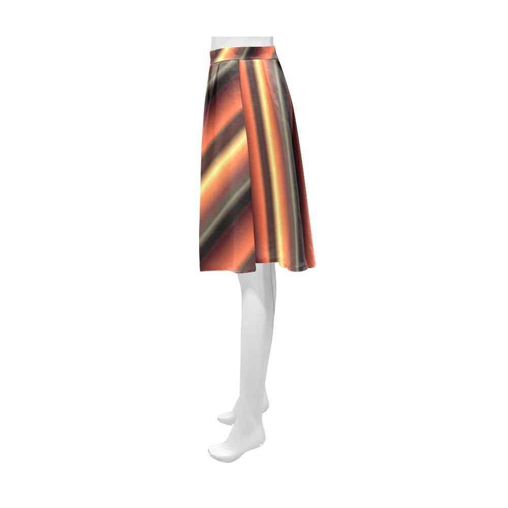 Honey Caramel Gradient Stripes Athena Women's Short Skirt (Model D15)