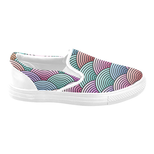 Oriental Concentric Circles Pattern Slip-on Canvas Shoes for Men/Large Size (Model 019)