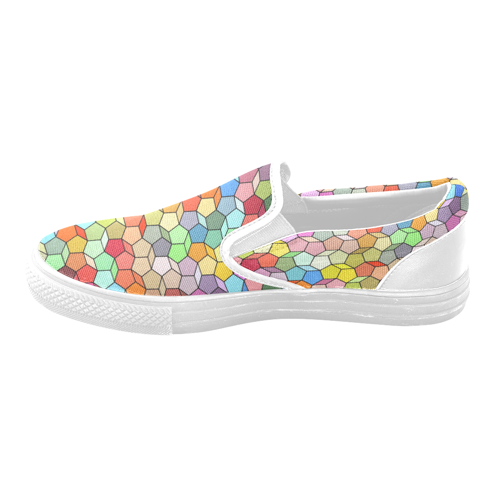 Colorful Polygon Pattern Slip-on Canvas Shoes for Men/Large Size (Model 019)