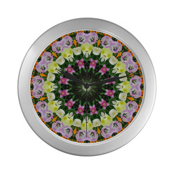 Tulips, Nature Flower Mandala 003.3 Silver Color Wall Clock