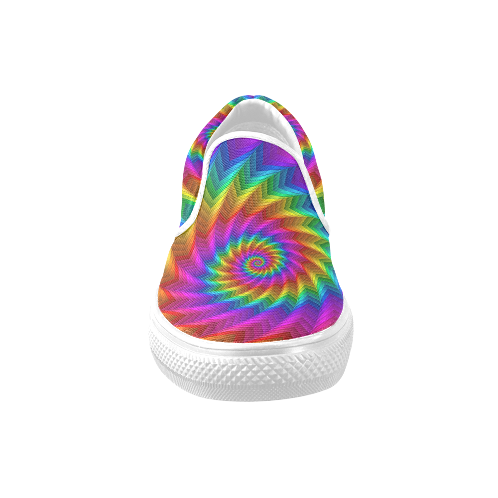 Psychedelic Rainbow Spiral Fractal Slip-on Canvas Shoes for Men/Large Size (Model 019)