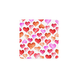 Pink Red Hearts Pattern Square Coaster