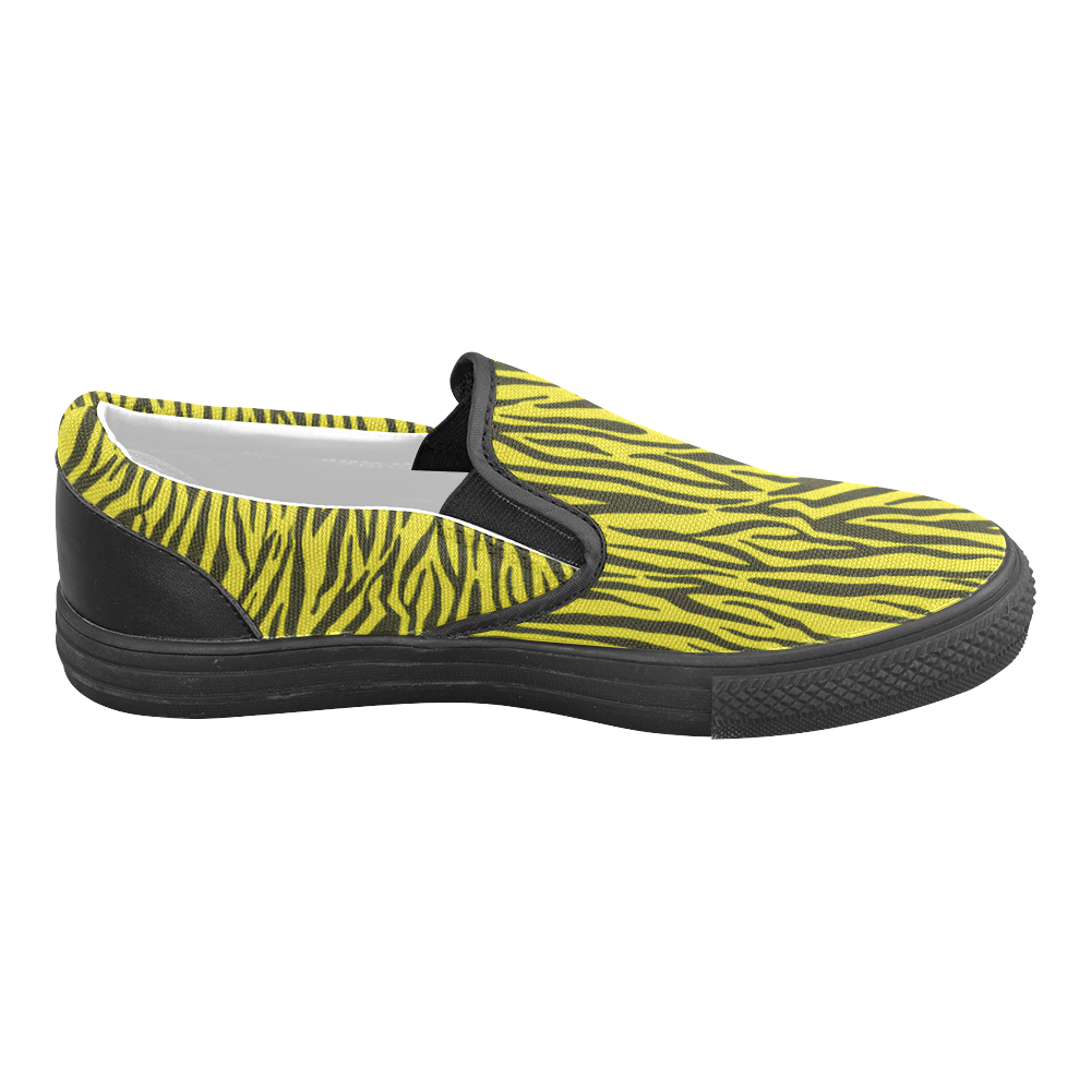 Yellow Zebra Stripes Fur Slip-on Canvas Shoes for Men/Large Size (Model 019)