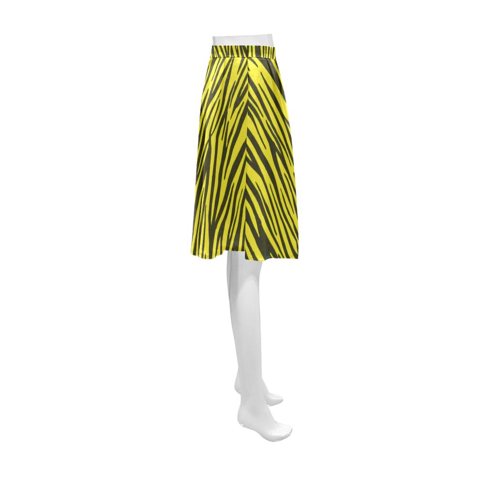 Yellow Zebra Stripes Fur Athena Women's Short Skirt (Model D15)