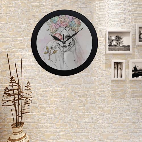 Boho Queen, skull girl, watercolor woman Circular Plastic Wall clock