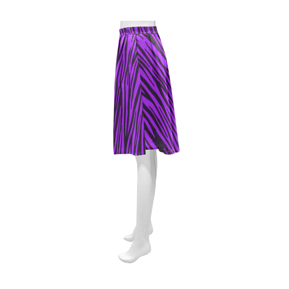 Purple Zebra Stripes Fur Athena Women's Short Skirt (Model D15)
