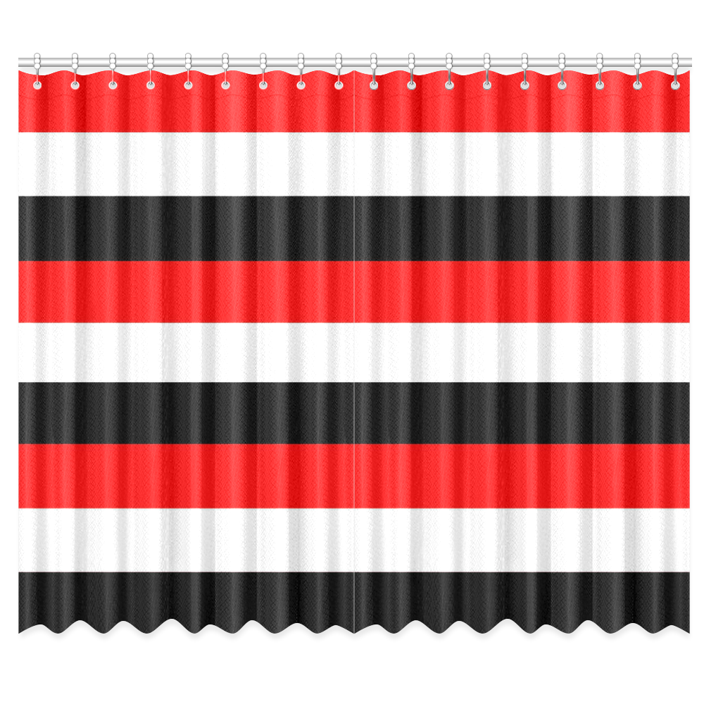 """Red, white and black stripes by celeste@khoncepts. Window Curtain 50""""x84""""(Two Piece)"""
