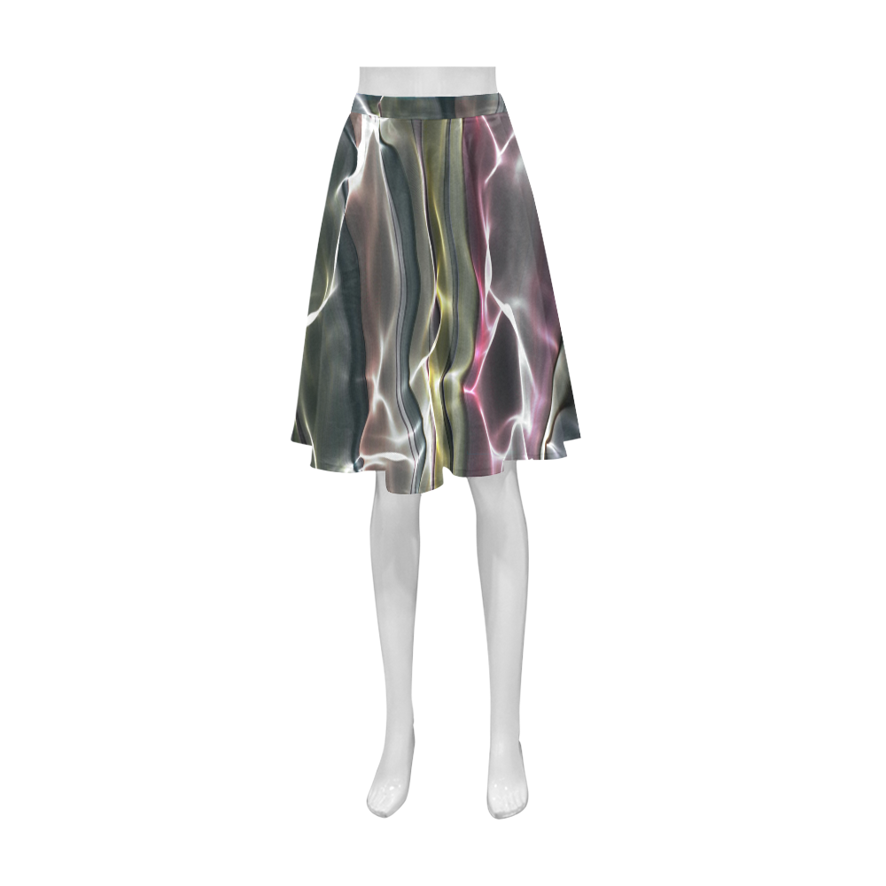 Abstract Glossy Wavy Mesh Athena Women's Short Skirt (Model D15)