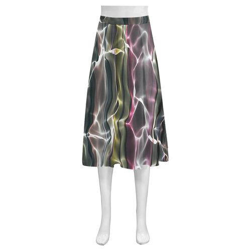 Abstract Glossy Wavy Mesh Mnemosyne Women's Crepe Skirt (Model D16)