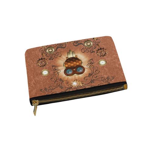 Steampunk, cute owl Carry-All Pouch 9.5''x6''