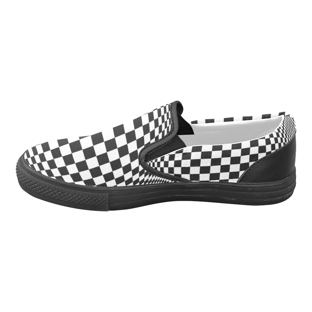 Optical Illusion Checkers Slip-on Canvas Shoes for Men/Large Size (Model 019)