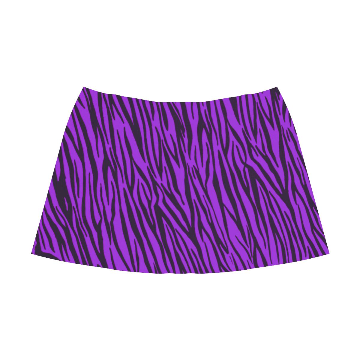 Purple Zebra Stripes Fur Mnemosyne Women's Crepe Skirt (Model D16)