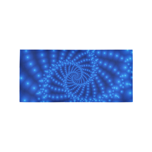 Glossy Royal Blue Beaded Spiral Fractal Area Rug 7'x3'3''
